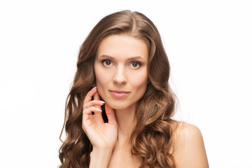 Close-up portrait of beauty woman skin care