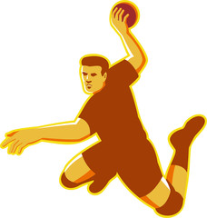 handball player jumping striking retro