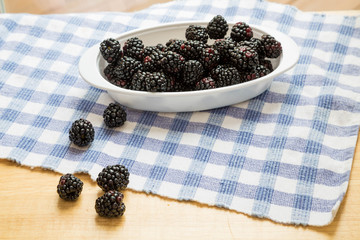 Fresh Blackberries in Window Light on Blue Check Cloth