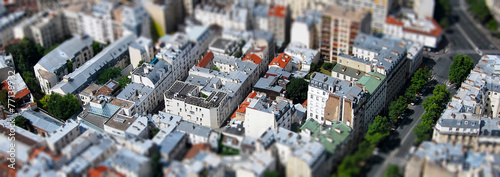 Spoed canvasdoek 2cm dik Luchtfoto Paris vue aérienne tilt shift