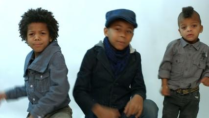 three black boy sings rap and dance