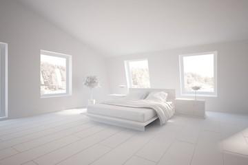 white bedroom interior-3d rendering