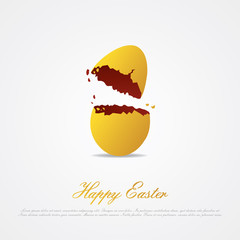Cracked easter egg, isolated on white and place for text