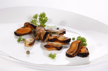 Mussel on white