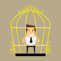 businessman break the cage