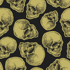 vector seamless pattern with skull