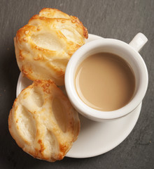 Bread Roll with cottage cheese filling and coffe