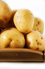 potatoes close up on white