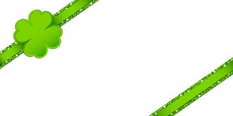 Clover Double Glitter Ribbon Diagonal Light Green