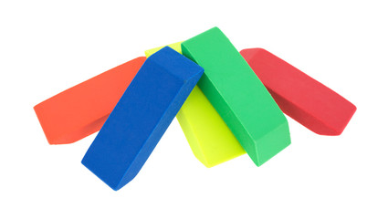 Group of erasers on a white background