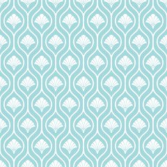 Retro Seamless Pattern Drops Flowers Turquoise