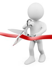 3D white people. Man with scissors cutting red ribbon