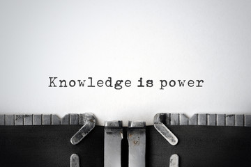 Knowledge. Inspirational quote typed on an old typewriter.