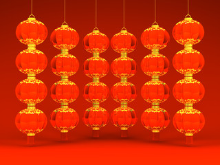 Some Lunar New Year's Lanterns On Red
