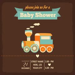 baby shower invitation in retro style