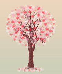 tree with spring color illustration