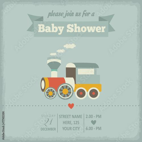 baby shower invitation in retro style - 77143384
