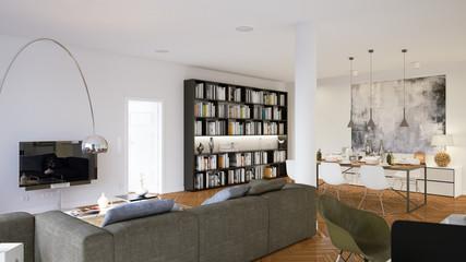 wohnzimmer mit Bücherregal und sofa - living room with bookshelf