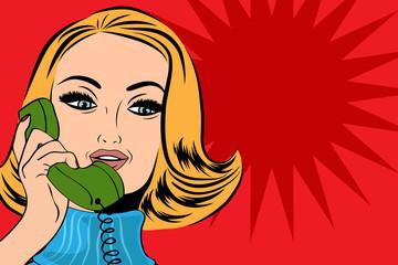 pop art cute retro woman in comics style talking on the phone
