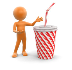 Man and Disposable cup (clipping path included)