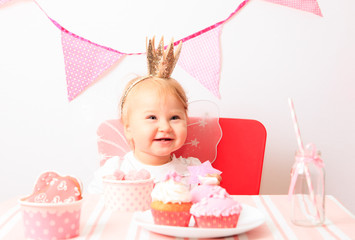 happy little princess at pink party