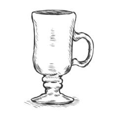 Vector Single Sketch Irish Coffee Glass