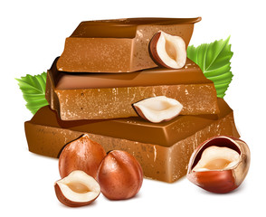 Chocolates with hazelnuts.