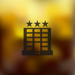 hotel icon on blurred background