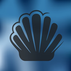 shell icon on blurred background