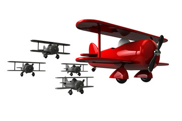 Toy planes follow the leader.