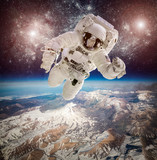 Astronaut in outer space poster