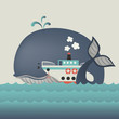 Whale and steamship in blue sea - 77146973