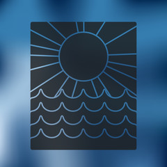 summer icon on blurred background