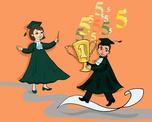 Выпускник с кубком и выпускница с указкой