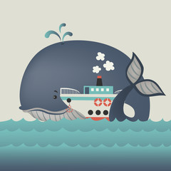 Whale and steamship in blue sea