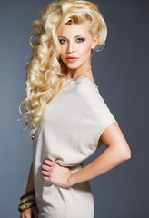 Studio portrait of a stunning beauty blonde.