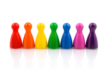 Pawns in rainbow colors