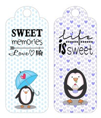 tag, elemento, scrapbook, kawaii, pinguim, fofo