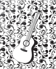 Guitar with ornamental background