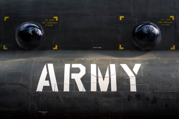 Detail of American Army Helicopter Fuselage from the Vietnam War