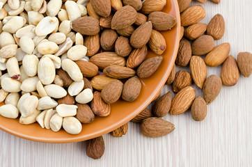 almonds and peanut close up