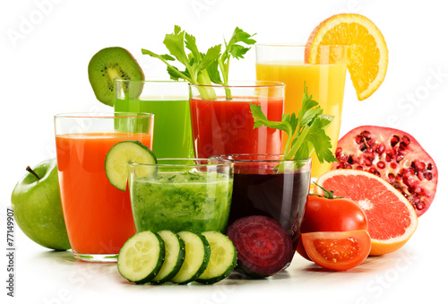 Glasses with fresh organic vegetable and fruit juices on white - 77149907