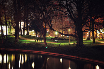 Night view of Zocher park in Utrecht