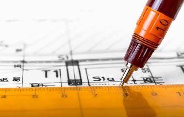 drawing architect blueprints plan