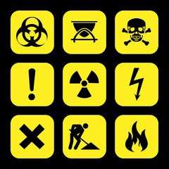 symbols warning icons set great for any use. Vector EPS10.