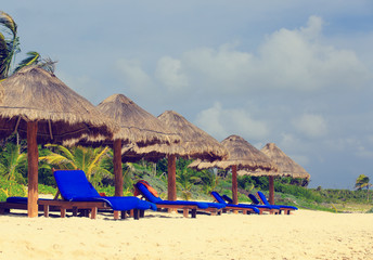 Beach chairs on carribean coast