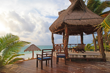 Beach rest pavillion in Carribean sea, Mexico