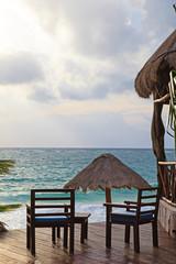 Chairs on the beach of Carribean sea
