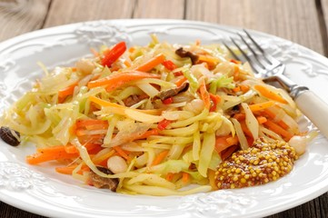 Cabbage ragout with carrot, chili, mushrooms and french mustard