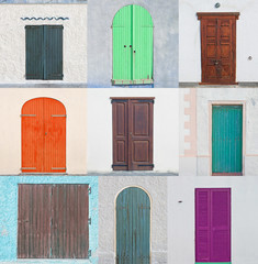 collage of colored doors
